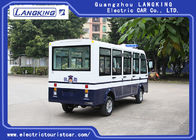 White 11 Seater Electric Shuttle Car Equipped With Effective Shock Absorb / Door